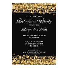retirement invitations retirement party gold sparkles card zazzle