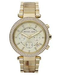 gold tone stainless steel bracelet images Michael kors watch women 39 s chronograph parker horn acetate and jpg