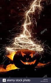 halloween pumpkin image halloween pumpkin jack o lantern fire face and fireworks stock