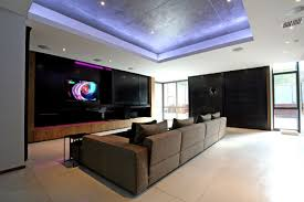 luxury and large contemporary house tv room home building