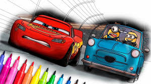 lightning mcqueen u0026 minions awesome race coloring pages