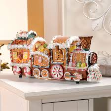 winter lane fiber optic gingerbread train decoration new holiday