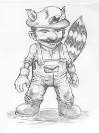 pretty good blog warm up sketch raccoon mario