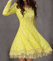 yellow dress yellow sleeve flower lace pleated dress abaday