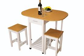 table with 2 stools 3 piece kitchen island breakfast bar set with casters drop down
