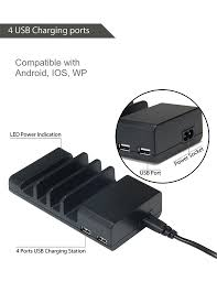 4 port usb desk charging station phone support phone holder 4