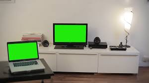 computer and television green screen in living room 1080p motion