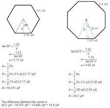 determining area regular polygons and circles texas gateway
