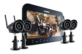 home security system with 4 wireless cameras and 7inch