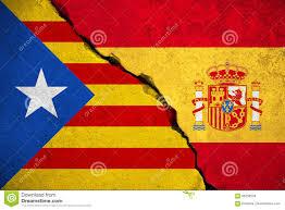 Christopher Columbus Flag Spanien Flagge Auf Defekter Backsteinmauer Und Halbe Katalanische