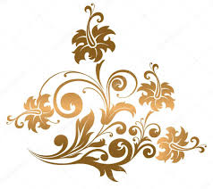 beautiful gold ornament with flowers and curls stock vector