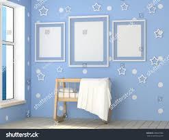 mock childs room interior blue room stock illustration 580625986