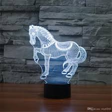 ful 3d horse creative acrylic visual light led lamp bedroom table