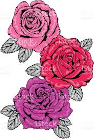 trio of tattoo style pink red and purple rose vector illustrations