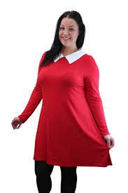 womens plus size peter pan collar long sleeve stretch swing dress