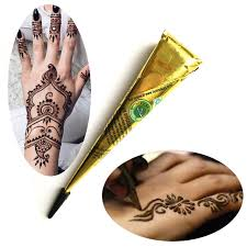 brown ink color indian henna tattoo paste cone women