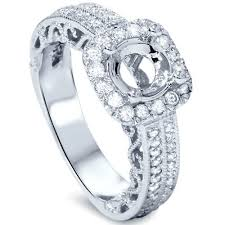 engagement ring settings only vvs 3 4 cushion halo filigree engagement ring setting 14k white