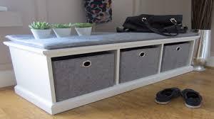 white bench storage outdoor storage bench with cushion white