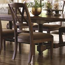 bassett compass dining side chair with x back and upholstered seat