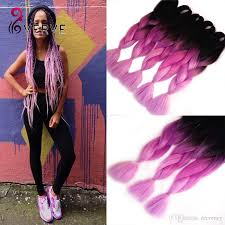 Purple Remy Hair Extensions by Wholesale 24inch 100g Pcs Ombre Braid Synthetic Hair Extensions