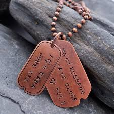 Personalized Dog Tags For Men Engraved Copper Dog Tags Necklace For Men Gifts For Men