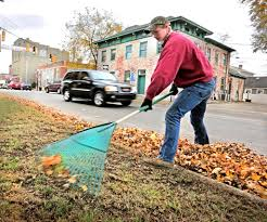 fall lawn care tips weeding seeding and fertilizing angie s list a man raking leaves in the fall in pendleton indiana