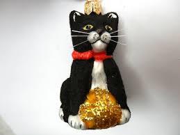 black cat sm kitten european blown glass christmas ornament