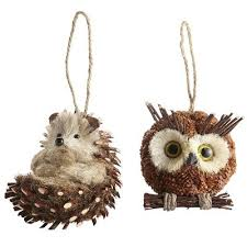 owl porcupine ornaments from pier 1 for our woodland