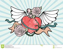 Hearts With Wings - with wings and roses stock image image 6478741