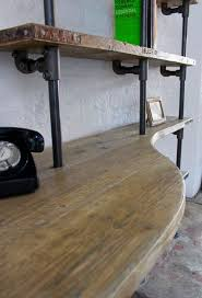 pipe desk with shelves brooks reclaimed scaffolding board curved desk and shelf unit pipe