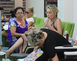 sharon stone while visiting a nail salon in beverly hills
