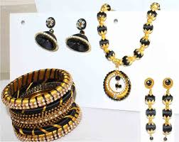 black gold necklace jewelry images Black and gold handmade silk thread jewelry set with imitation jpg