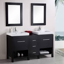 Bathroom Cabinets Ideas Storage Gorgeous Black Wooden Bathroom Vanity Feat Twin Square Sinks Plus