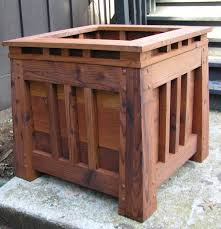 craftsman style redwood planter box mission by midcenturywoodshop
