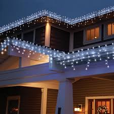 cool white icicle lights holiday time high density icicle light set white wire cool white