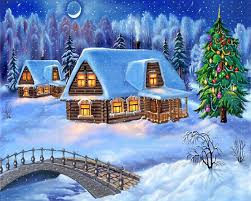 snowy christmas night decoration with christmas tree wallpaper
