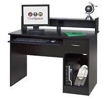 Black Computer Desk With Hutch Onespace 50 Ld0105 Essential Computer Desk Hutch With Pull Out