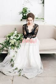 white wedding gowns black lace and white chiffon scalloped illusion sleeve rustic
