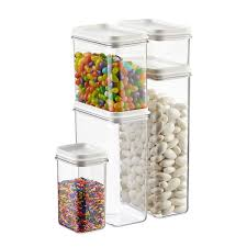 narrow stackable canisters with white lids the container store