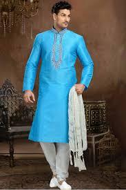 blue colour dhupion party wear kurta with art silk churidar bottom
