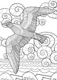 flying seagull ocean zentangle coloring free printable