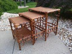 vintage rattan nesting tables bamboo nesting tables stacking tables vintage bamboo tables rattan