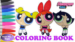 powerpuff girls coloring book blossom bubbles buttercup happy