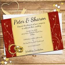 10 personalised elegant red u0026 gold swirl wedding invitations day