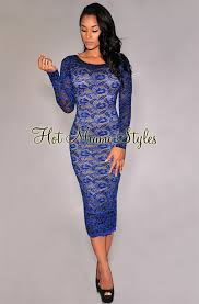 blue lace dress royal blue lace illusion midi dress