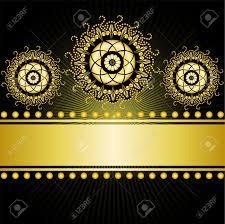 gilt border with three circular ornaments on a black background