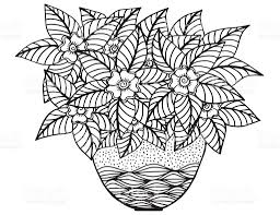 vase with doodling hand drawn flowers and patterns illustration