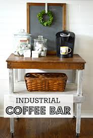 my passion for decor industrial work bench turned coffee bar