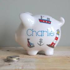Personalized Silver Piggy Bank Personalized Piggy Bank Sailboat Nautical By Andrewandelladesigns
