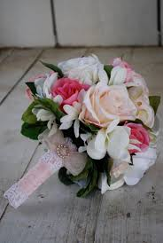 white roses for sale sale silk bridal bouquet nosegay pink white roses plumeria